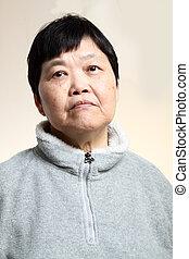 mujer mayor, asiático, 60s