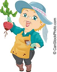 mujer mayor, cosecha, remolacha