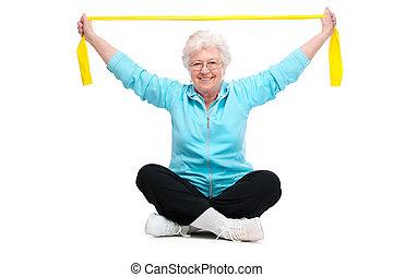 mujer mayor, gimnasio