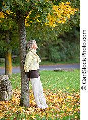 mujer mayor, reclinado, tronco de árbol, en, otoño, en, parque