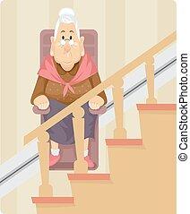 mujer mayor, silla, elevador