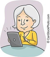mujer mayor, tableta