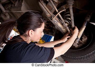 mujer, mecánico