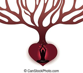mujer, medite, debajo, el, árbol grande, en, el, resumen, raíces, de, forma corazón