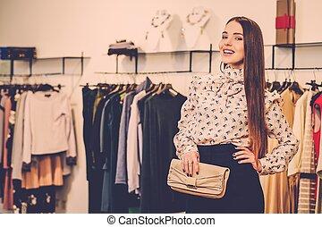 mujer, moda, joven, sala de exposición, moderno