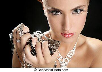 mujer, moda, joyas, codicia, ambición