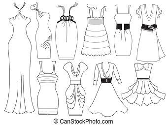 mujer, moda, white., vector, vestido, ropa
