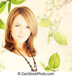 mujer, modelo, con, primavera, hojas