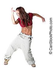 mujer, moderno, aislado, bailarín, blanco, fresco