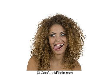 mujer, molestar, con, lengua