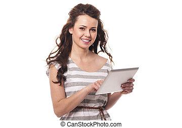 mujer, morena, tableta, digital