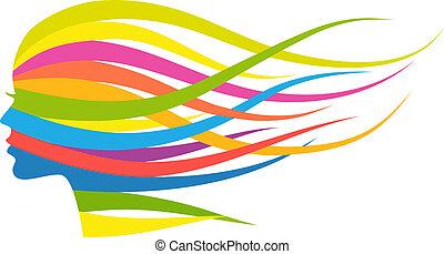 mujer, multicolor, pelo, vector