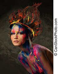 mujer, musa, arte de cuerpo, joven, peinado, creativo