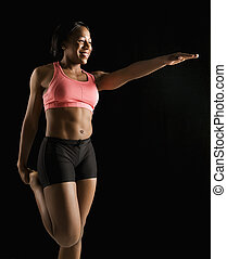 mujer, muscular, stretching.
