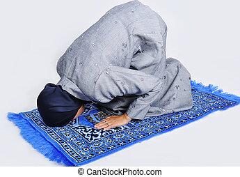 mujer, musulmán, joven, tradicional, manera, rezando