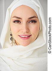 mujer, musulmán, mirar, cámara, primer plano, retrato, hijab...