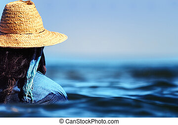 mujer, nade, en, vestido