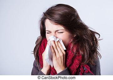 mujer, nariz líquida
