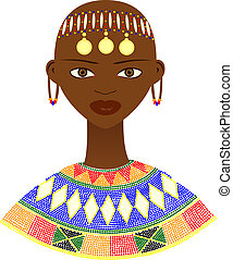 mujer, nativo, africano