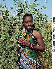 mujer, nativo, joven, norteamericano, africano, aire libre, ...