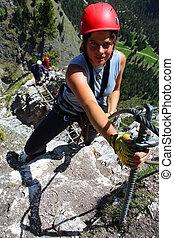 mujer, naturaleza, joven, pursuit., al aire libre, montañismo
