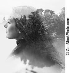 mujer, naturaleza