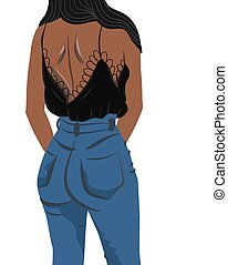 mujer negra, bronceado, vestido, vaqueros, blusa, vista, espalda, morena