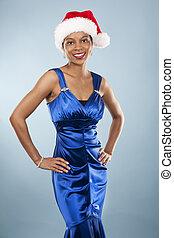 mujer negra, en, vestido de la tarde