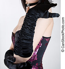 mujer negra, guantes