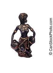 mujer, negro, africano, decoración de casa, posing.