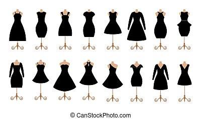 mujer, negro, vestidos, moda, icono, set., hembra, ropa,...