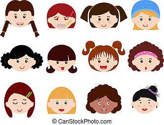 mujer, niñas, niños, set), (female