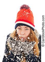 mujer, nieve