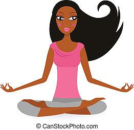 mujer, norteamericano, aislado, -, afro, actitud del yoga, loto, blanco