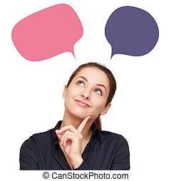 mujer, nubes, empresa / negocio, pensamiento, color aislado,...