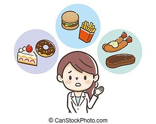 mujer, nutricionista, revisión, hábitos, joven, comida