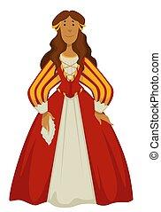 mujer, o, moda, pelota, princesa, bata, renacimiento, vestido