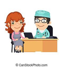 mujer, oficina, médico, consulta, doctors, teniendo