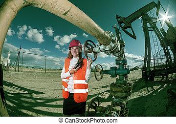 mujer, oilfield, ingeniero
