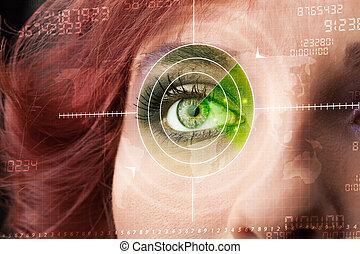 mujer, ojo, blanco, moderno,  Cyber, militar