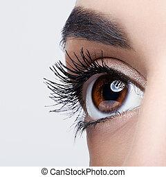 mujer, ojo, maquillaje