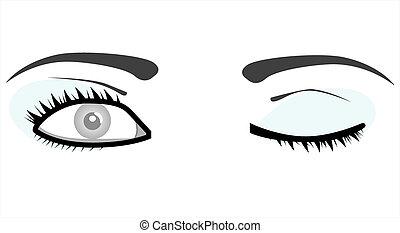 mujer, ojos, aislado, blanco