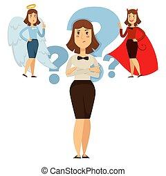 mujer, opción, entre, bueno, y, comportamiento, gente, decidir