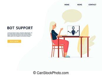 mujer, página, tela, charlar, illustration., apoyo, chatbot...