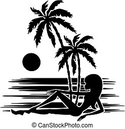 mujer, palma, tropics., árboles