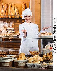 mujer, panadería, retrato, exhibición, cheerfu, amistoso