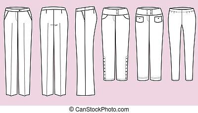 mujer, pantalones