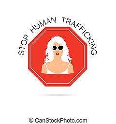 mujer, parada, él, ilustración, señal, tráfico, humano