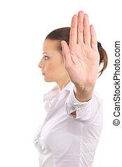 mujer, parada, aislado, señal, señalización, plano de fondo, cólera, blanco