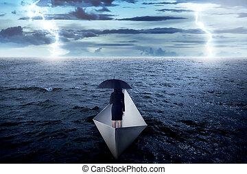 mujer, paraguas, navegación, empresa / negocio, papel, asiático, tenencia, mar, solamente, barco